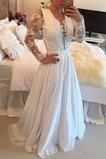 Vestido de novia Manga larga Encaje Apliques Escote en V Natural Cinturón de cuentas