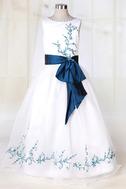 Vestido niña ceremonia Blanco Organza Romántico Corte princesa Arco Acentuado