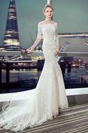 Vestido de novia Capa de encaje Cordón Abalorio Escote con Hombros caídos