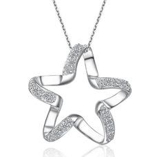 Clavícula mujeres plata cinco puntas estrella con incrustaciones diamante collar y colgante