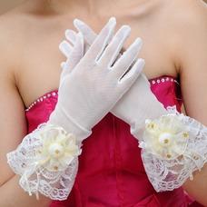 Guante de la boda Glamouroso Sala Abalorio Encaje