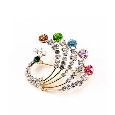 Diamante de incrustaciones colorido pavo real temperamento broche