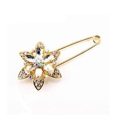 Diamante de ramillete mujeres incrustaciones de aleación de cristal de moda broche