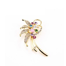 Con incrustaciones de diamante hoja Top grade broche de flores de cristal de las mujeres
