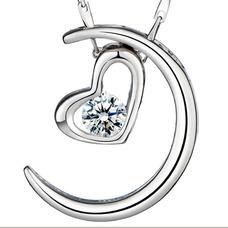 Collar y colgante en forma de corazón chapado decoración caliente de la venta de plata