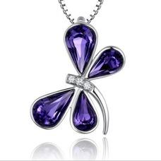 Libélula mujeres Cristal púrpura suministro por mayor collar y colgante de plata