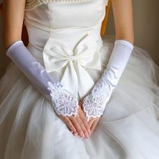 Guante de la boda vendimia Satén Elástico primavera Apliques Sala