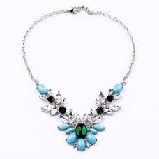 Joya con incrustaciones de aleación collar y colgante de cristal de flores de boda