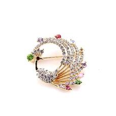 Con incrustaciones de diamante colorido broche pavo real de aleación