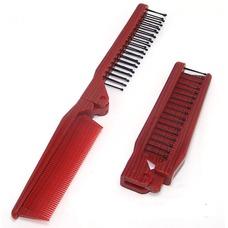 Grano rojo plegable multifunción portátil pequeño espejo y peine de madera