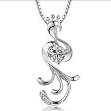 Con incrustaciones de diamante mujer moda Peacock collar y colgante de plata