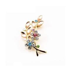 Venta caliente con incrustaciones de diamante mujer accesorios broche de hojas de cristal