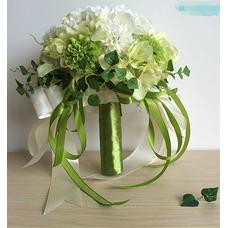 Novia de crisantemo de seda de bolas partido verde y blanco con flores