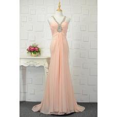 Vestido de noche largo Corte-A Abalorio Elegante Sin mangas Gasa