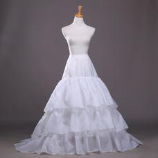 Poliéster tafetán volante vestido lleno cadena larga moda enagua de la boda