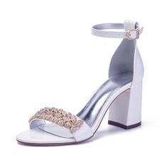 Sandalias de tacón grueso de gran tamaño, zapatos de boda de mujer de raso y pedrería con tacón alto