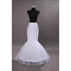 Enagua de la boda blanco vestido de boda de la sirena spandex ruedas sencillas