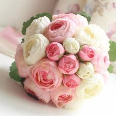 Ramo de flores a mano simple diamante perla atmosférica una matrona de honor