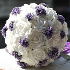 Ramos de novia blancas de la celebración de un regalo de boda ramo de novia regalo pura simulación manual