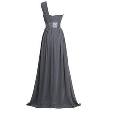 Vestido de dama de honor Verano Cola Barriba Escote Asimètrico Volantes Adorno