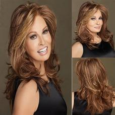 Inclinada y ordenado largo 40-45 CM esponjosa peluca rizada