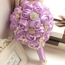 Tema morado personalizado alta novia ramo novia