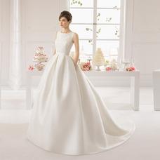 Vestido de novia Apliques Sala Espalda medio descubierto Satén Moderno