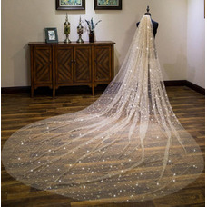 Champagne velo estrellado novia velo súper largo velo de novia