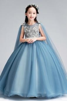 Vestido niña ceremonia Perlas Cremallera Joya tul Capa de encaje Formal