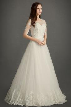 Vestido de novia Apliques Corte-A Mangas Illusion Joya Hasta el suelo