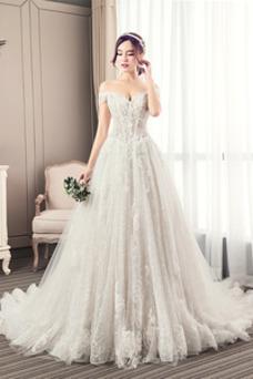 Vestido de novia Natural Encaje primavera Cordón tul Manga corta