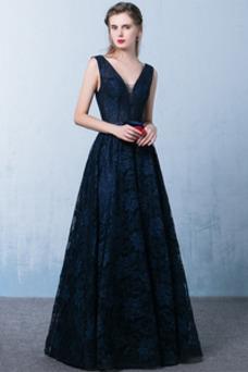 Vestido de fiesta Encaje Corte-A Triángulo Invertido Espalda Descubierta