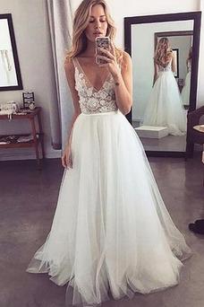 Vestido de novia sexy tul Apliques Hasta el suelo Falta Capa de encaje