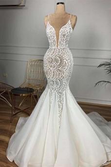 Vestido de novia Invierno Sin mangas Capa de encaje Moderno Cola Capilla