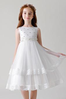 Vestido niña ceremonia Corpiño Acentuado con Perla Joya Verano Hasta la Rodilla