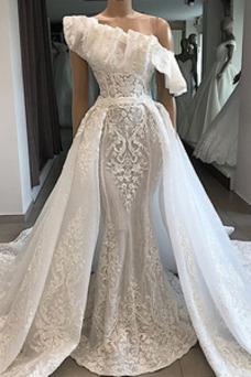 Vestido de novia Corte Sirena Hasta el suelo Verano Iglesia Sin mangas