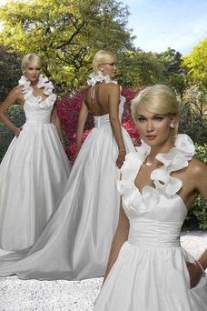 Vestido de novia Romántico Corte-A Satén Cremallera Volante primavera