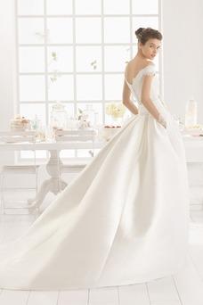 Vestido de novia largo Corte princesa Cremallera Sala Bolsillos Escote con Hombros caídos