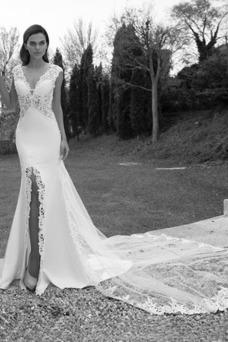 Vestido de novia Escote en V Verano Fuera de casa Cremallera Manga corta