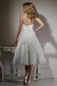 Vestido de novia Hasta la Tibia Natural Corte-A Sin mangas Apliques