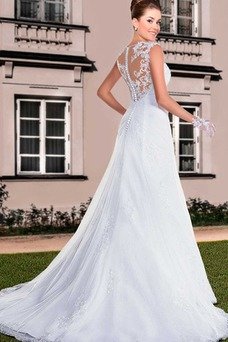 Vestido de novia Sala Corte-A Encaje Natural primavera Sin mangas