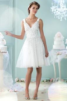 Vestido de novia Informal Natural Sin mangas Verano Abalorio Escote en V