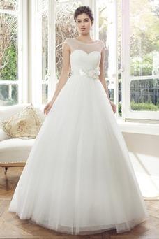 Vestido de novia Clasicos Cola Capilla Manga corta Flores tul Corte-A