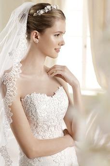 Vestido de novia Encaje Con velo Corte Sirena Cremallera Cola Barriba