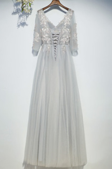 Vestido de dama de honor Capa de encaje Drapeado Hasta el suelo Elegante Natural