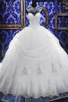 Vestido de novia Invierno Escote Corazón Cola Catedral Cordón Cristal