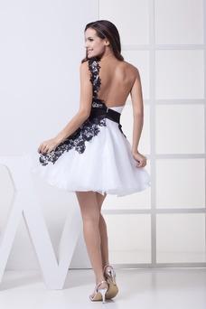 Vestido de cóctel Corto Falta Escote Asimètrico Espalda medio descubierto