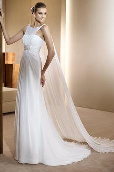 Vestido de novia Gasa Imperio Cintura Abalorio Joya Hasta el suelo Cremallera