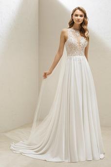Vestido de novia Sin mangas Corte-A Cola Barriba Natural Transparente