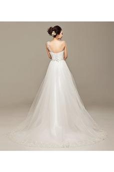 Vestido de novia Un sólo hombro Fuera de casa Falta Natural Espalda Descubierta